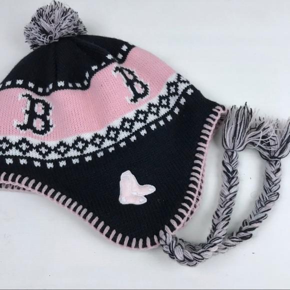 54153186e Boston Red Sox women winter knit hat pom ear flap